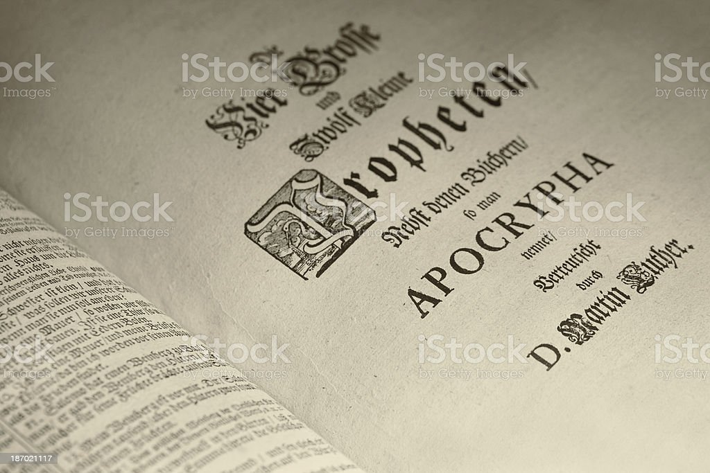 Part of the bible from 1717 stock photo