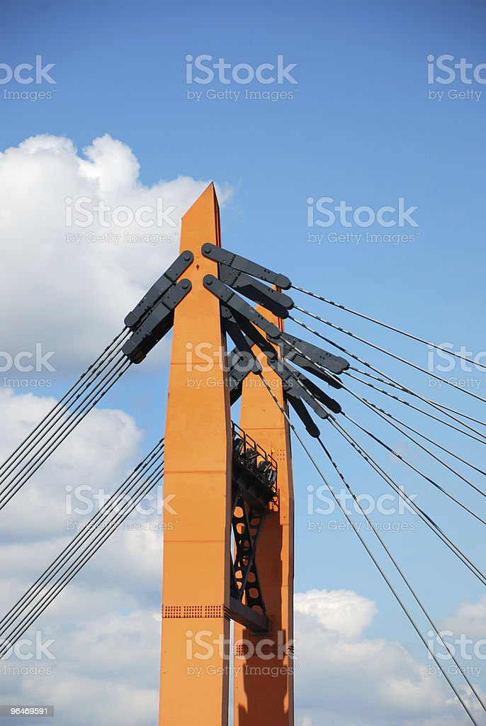 Part of the bridge with ropes royalty-free stock photo