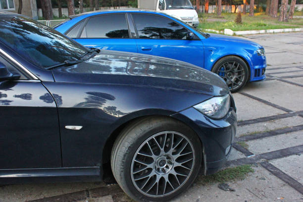 Part of the car BMW and Audi. Side view stock photo
