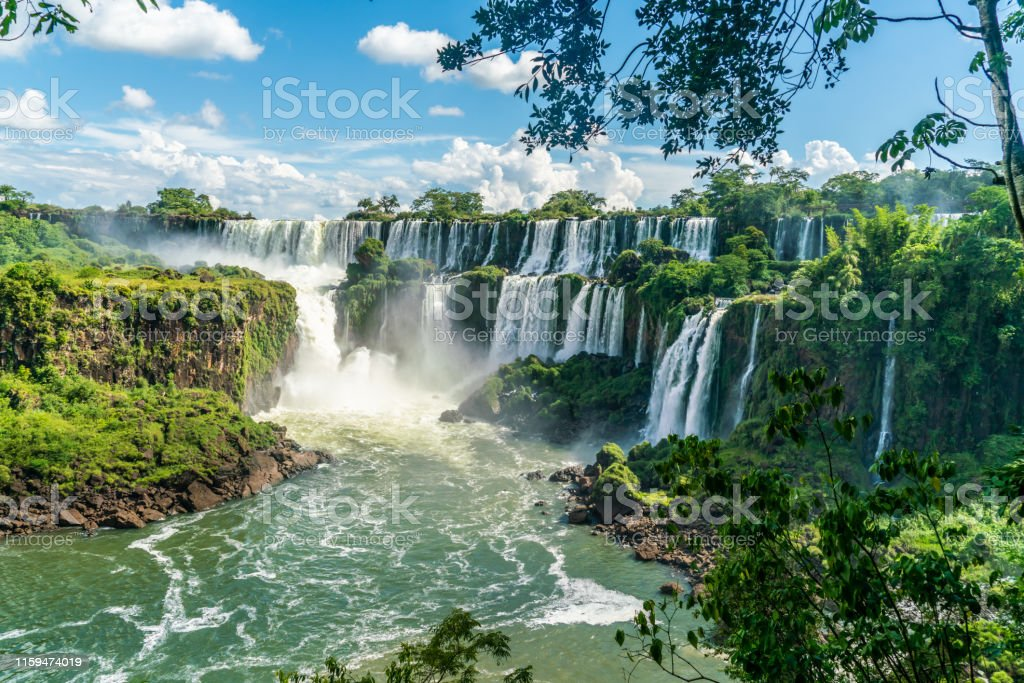 Part of The Iguazu Falls seen from the Argentinian National Park - Royalty-free Ao Ar Livre Foto de stock