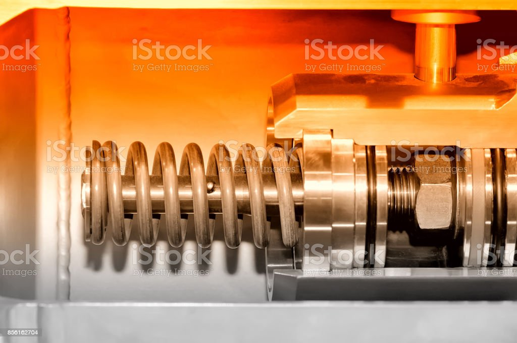 Part of the industrial mechanism. Red toning. stock photo