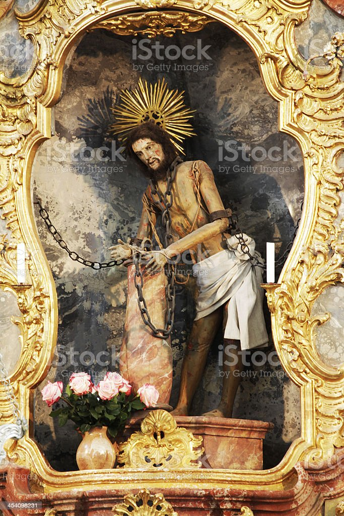 Part of the Main altar in church Scourged Savior, Wies stock photo