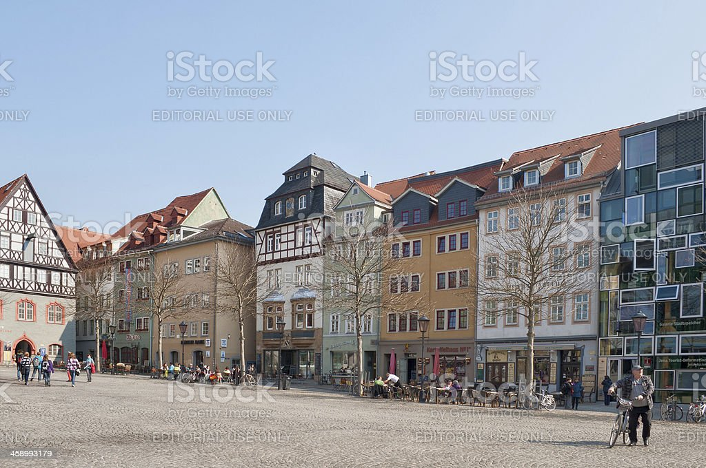 part of the market place in Jena /Germany stock photo