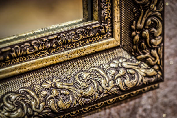 Part of the mirror frame stock photo