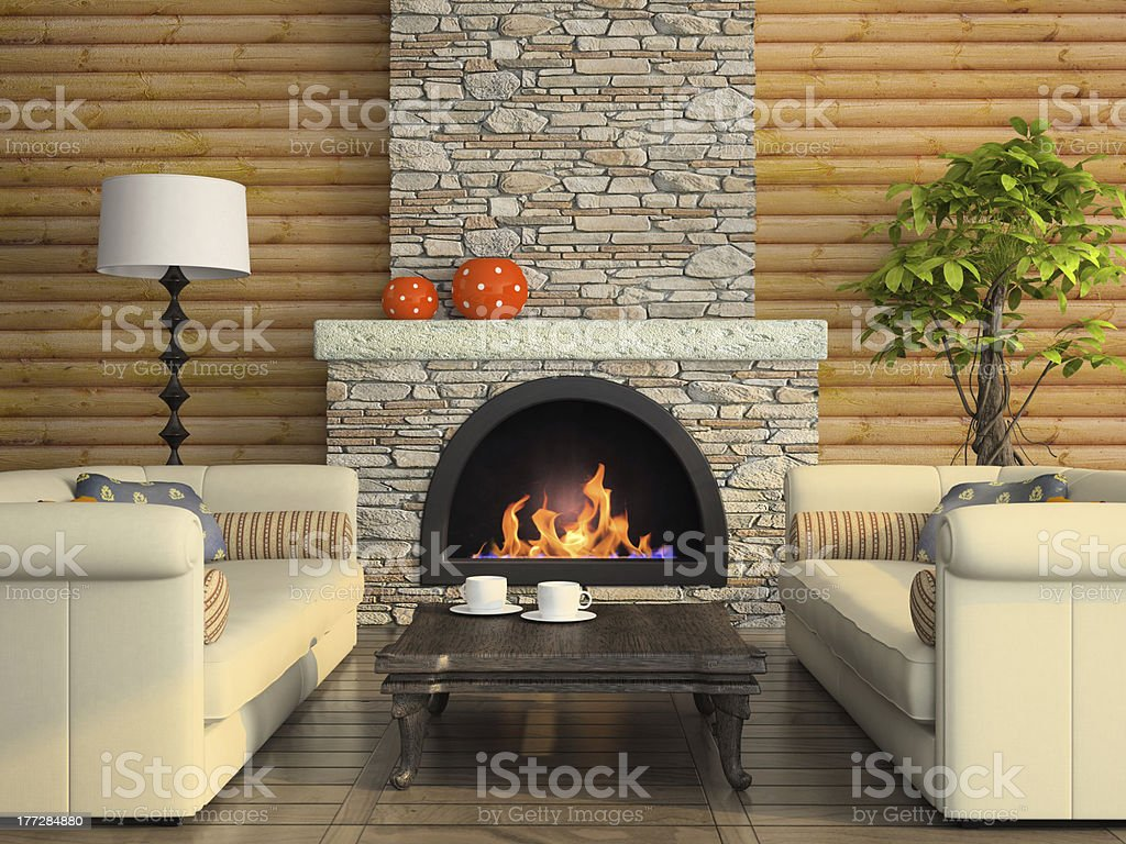 Part of the modern interior with fireplace stock photo