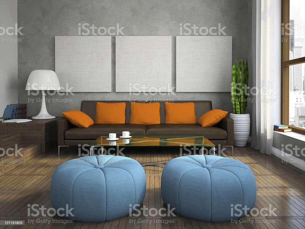 Part of the modern living-room with blue ottomans stock photo