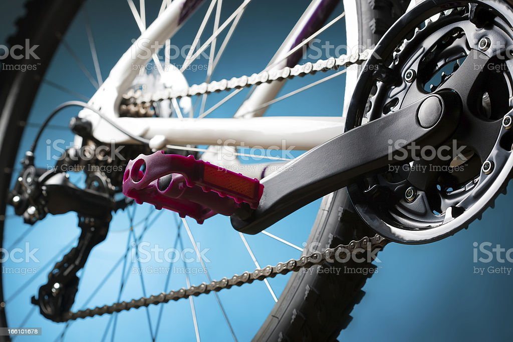 part of the mountain bike, front sprocket and pedal royalty-free stock photo