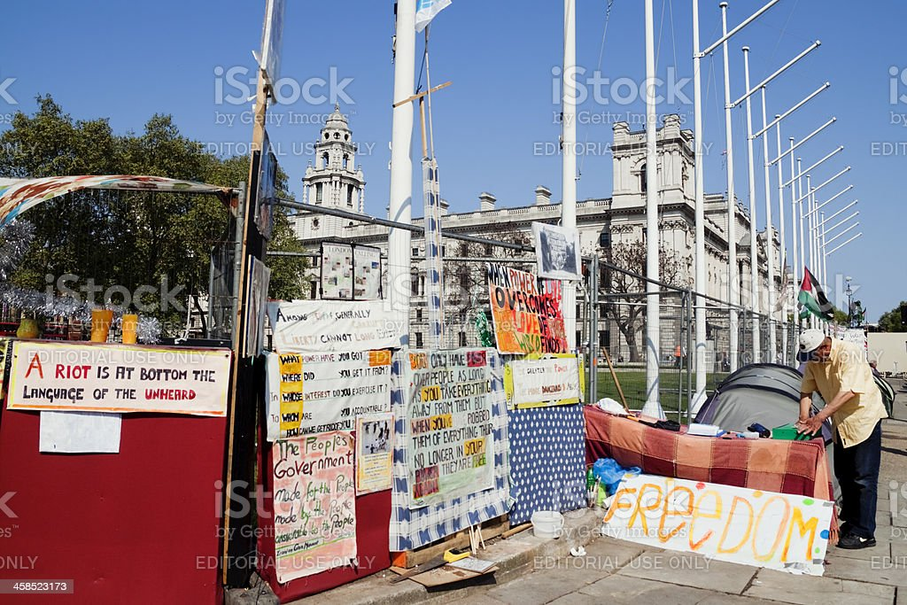 Part of the Peace Camp in Parliament Square royalty-free stock photo