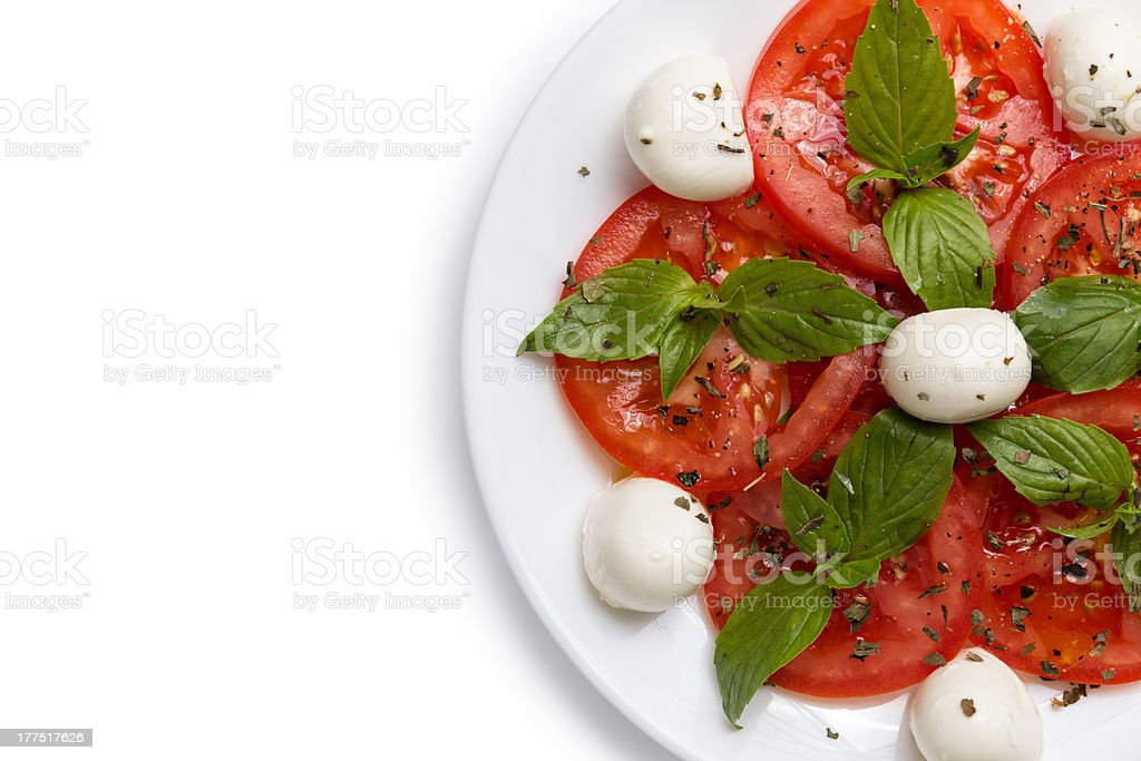 part of the plate with salad Caprese royalty-free stock photo