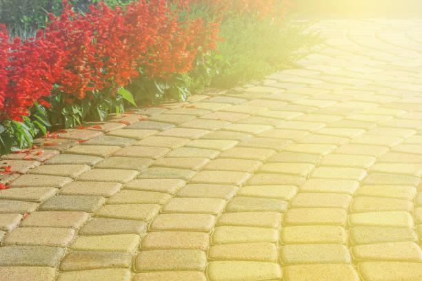 與草坪色調的人行道的一部分 - 黃色 個照片及圖片檔