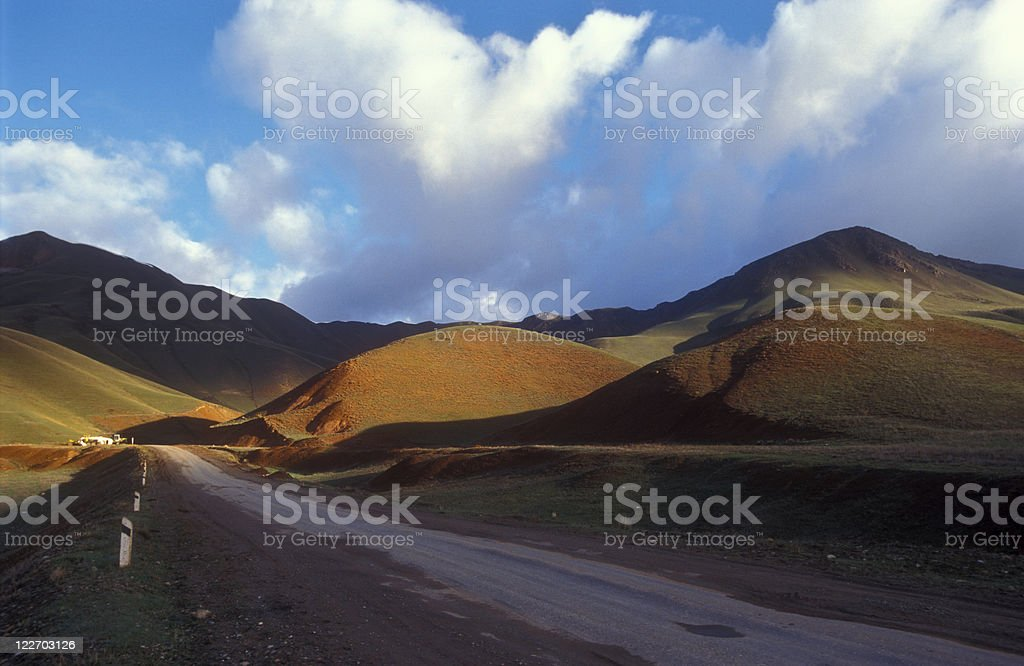 Part of the silk road (Tien Shan Mountains in Kyrgyztan) stock photo