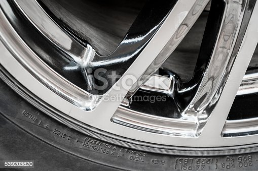 istock Part of the wheel of a car closeup 539203820