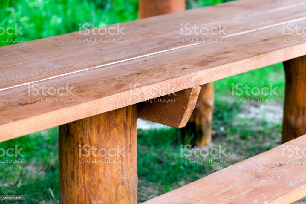 part of the wooden benches stock photo