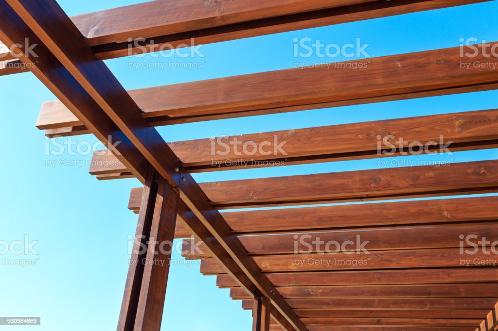 Part of the wooden roof structure. stock photo