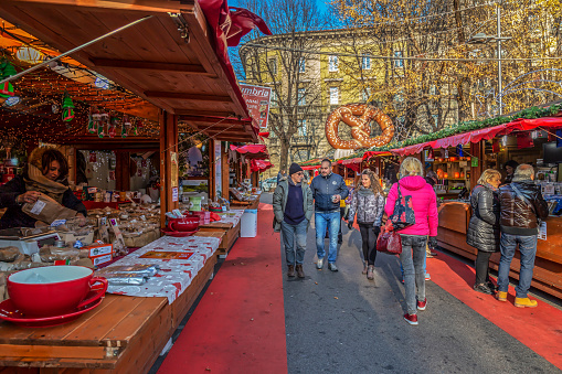 Part of traditional Christmas fair at Bergamo, Italy