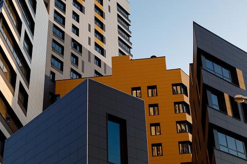 istock Part of urban real estate. Modern ventilated facade with windows. Diagonal arrangement. 1222278993