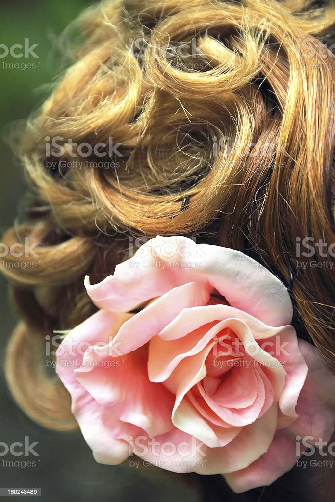 Part of wedding hairstyle closeup royalty-free stock photo