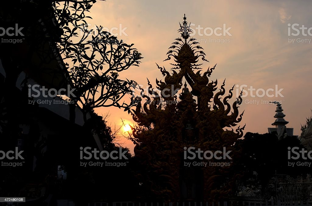 Part of White temple in silhouette. stock photo