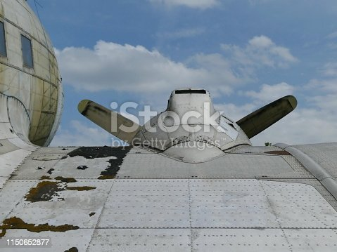 istock Part of wing, propeller of an old aircraft 1150652877