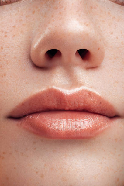 Part of woman's face. Woman's lips and nose. Soft skin. stock photo