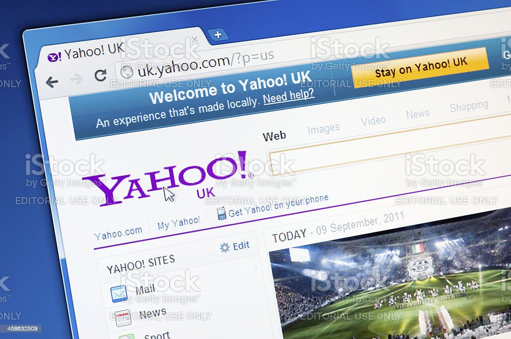 Part of Yahoo site in web browser on LCD screen. stock photo