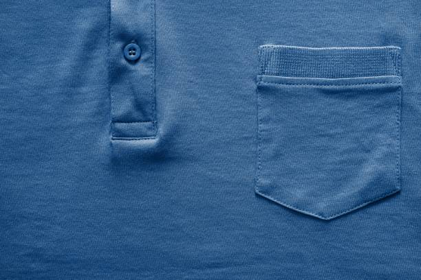part shirt closeup of dark blue color - pocket stock photos and pictures