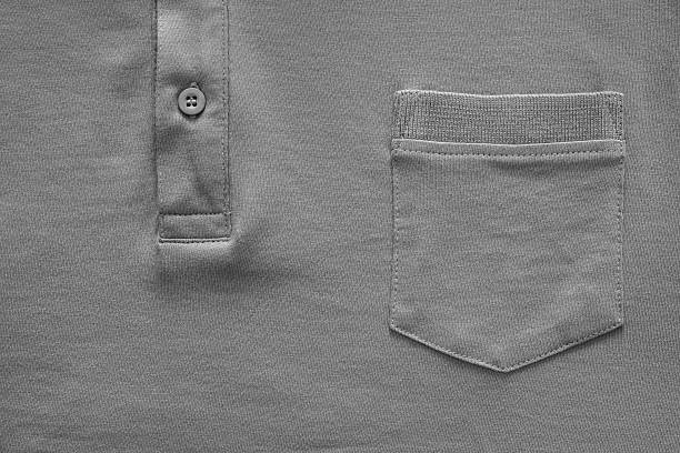 part shirt closeup of gray color - pocket stock photos and pictures