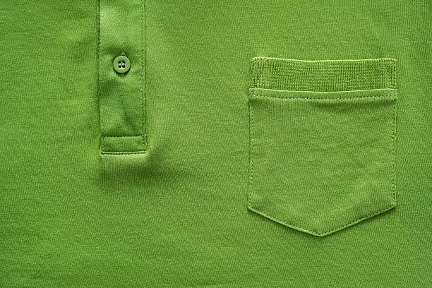 part shirt closeup of green color - pocket stock photos and pictures