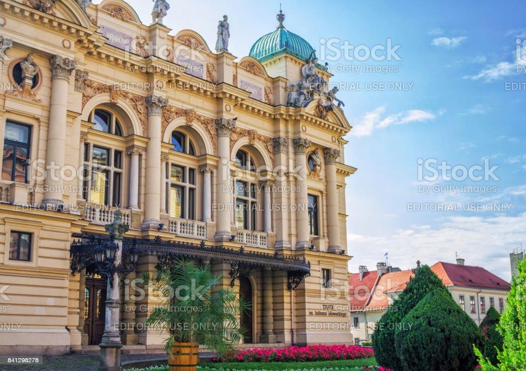 part view of Juliusz Slowacki Theatre stock photo