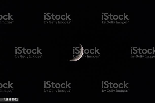 Photo of Part/Half moon in Dark Blue Night Sky with lots of space