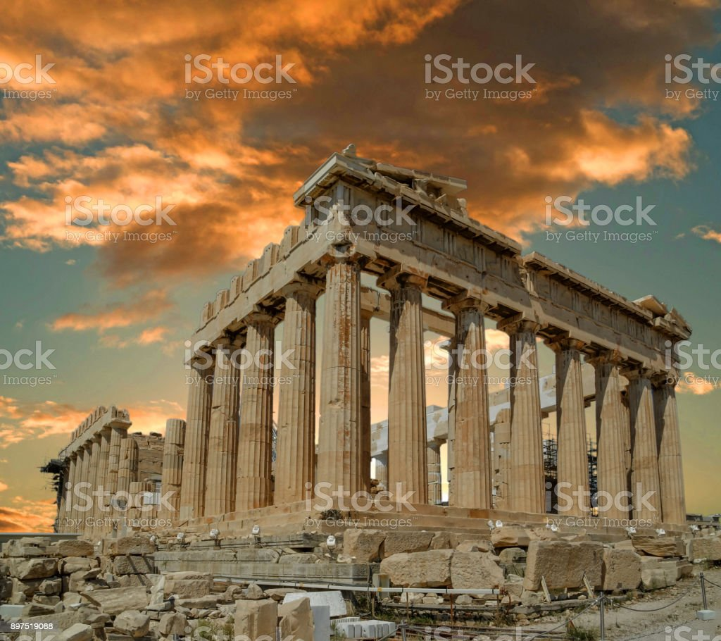parthenon ancient greek temple in greek capital Athens Greece clouds sk stock photo
