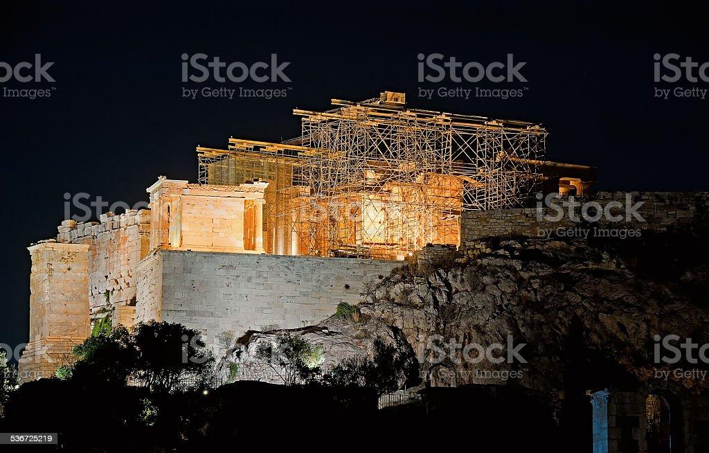 Parthenon at Acropolis Hill, Athens, Greece at night stock photo