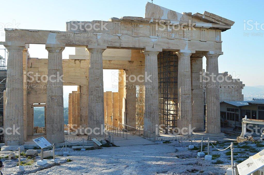 Parthenon at the acropolis of athens back view stock photo