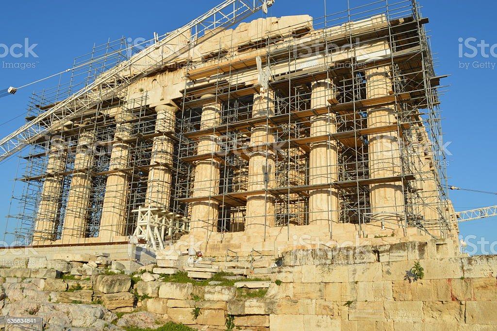 Parthenon at the acropolis of athens front view stock photo