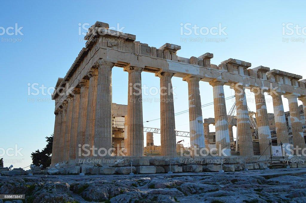 Parthenon at the acropolis of athens stock photo