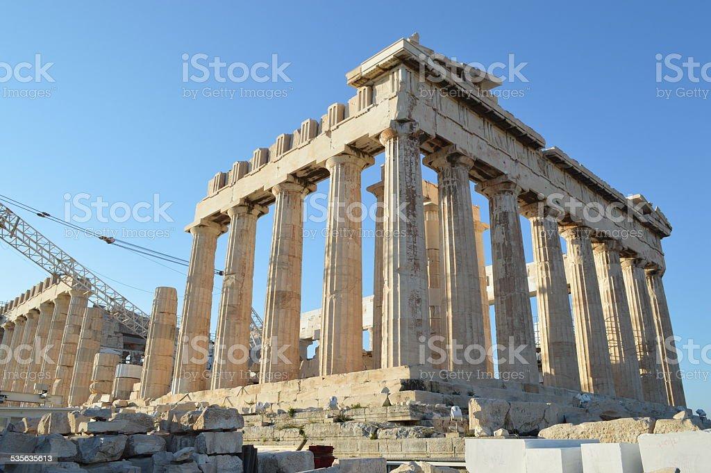 Parthenon at the acropolis of athens side view stock photo