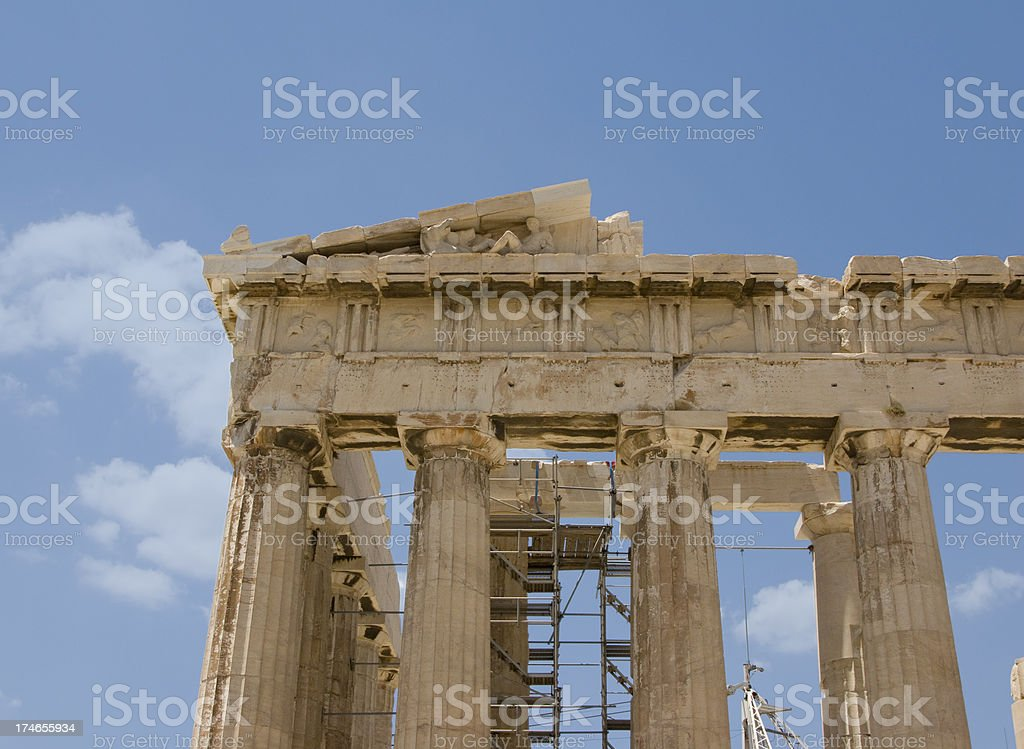 Parthenon Corner with Horse and Figure royalty-free stock photo