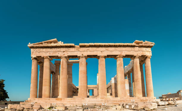 Parthenon of Acropolis front photo shoot in the morning with no tourists around. stock photo