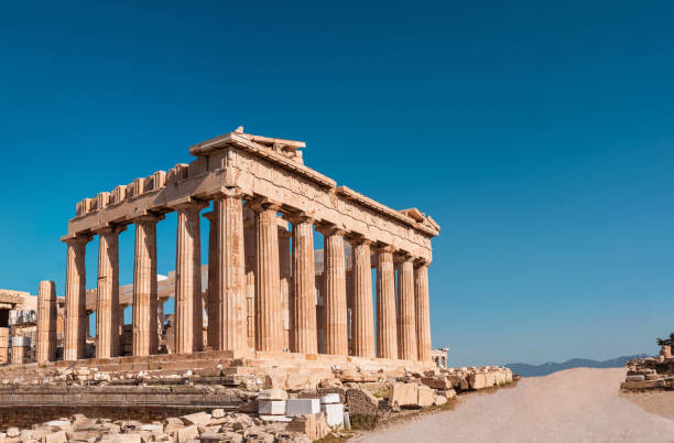 Parthenon of Acropolis panoramic photo shoot in the morning with no tourists around. stock photo