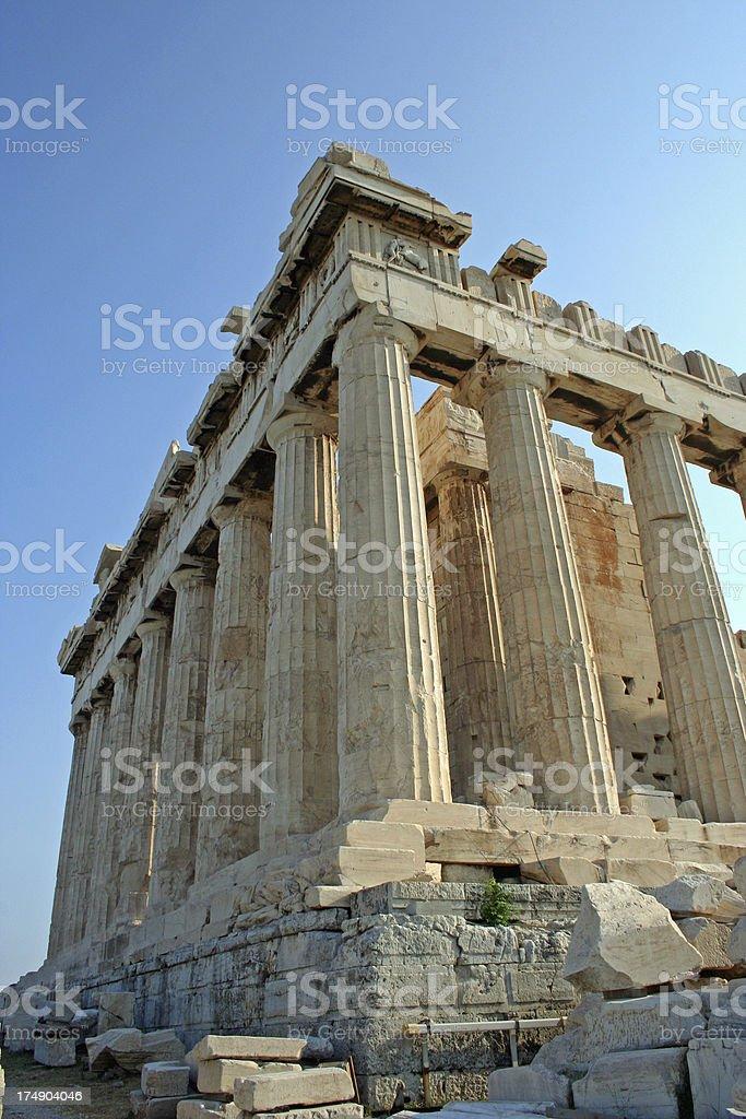 parthenon on acropolis mountain stock photo