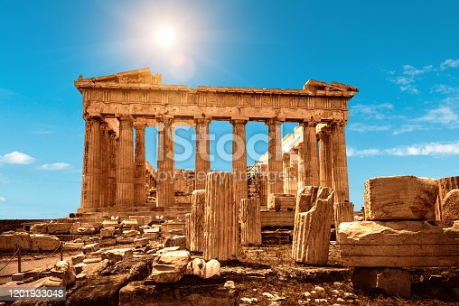 Parthenon on Acropolis of Athens, Greece. It is a top landmark of Athens. Nice scenery of Ancient Greek ruins in Athens center. Old famous temple of Athens on the top of Acropolis hill on sunny day.