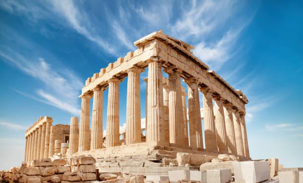 Parthenon on the Acropolis in Athens, Greece Parthenon temple on a bright day. Acropolis in Athens, Greece, on a bright day classical style stock pictures, royalty-free photos & images