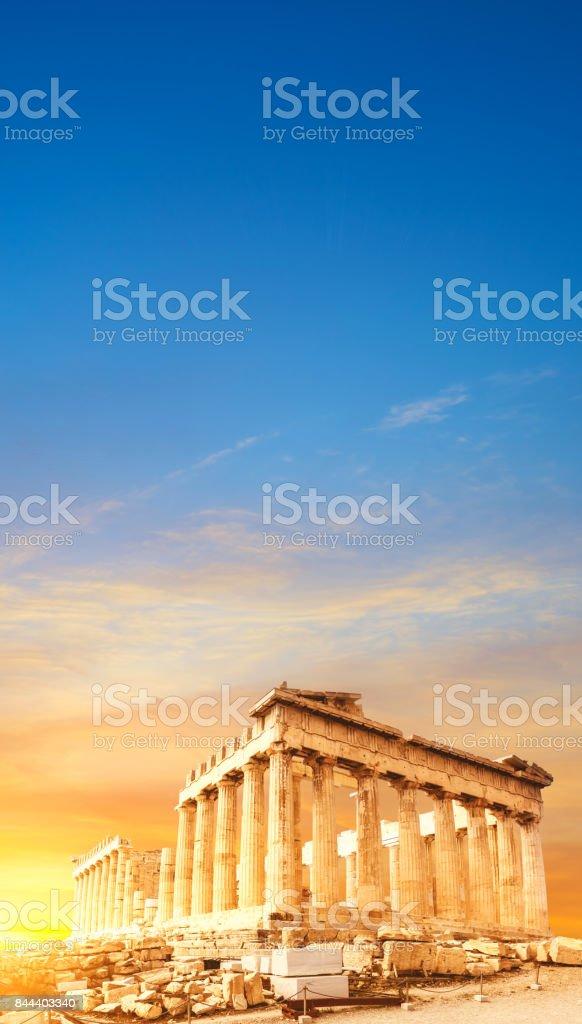 Parthenon temple, the Acropolis in Athens, Greece stock photo