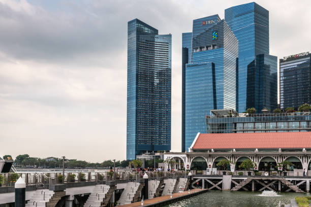 Partial financial district from Clifford Square, Singapore. stock photo