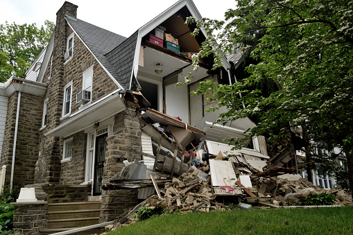 Partial House Collapse In Philadelphia Pa Stock Photo - Download Image Now