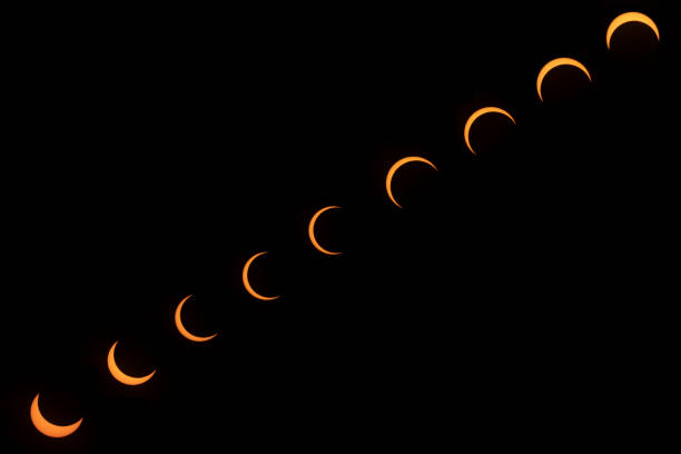 Partial Total Solar Eclipse phases. Composite Solar Eclipse. Last eclipse of the decade. Ring of fire eclipse view from Dubai. stock photo
