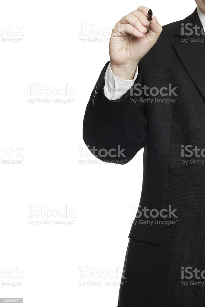 Partial View Man Holding Marker as if Writing on Surface. royalty-free stock photo
