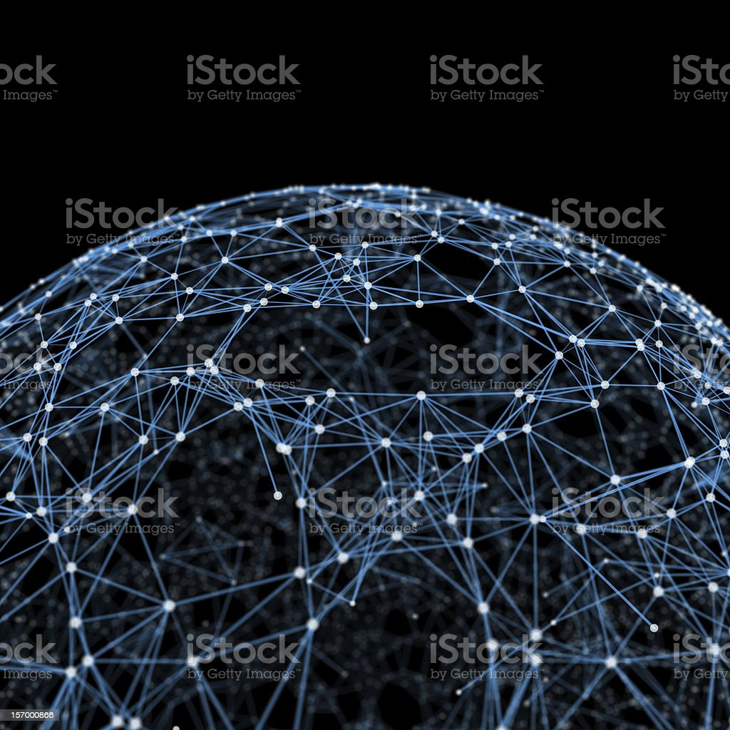 Partial view of a blue sphere in geometric pattern with dots royalty-free stock photo