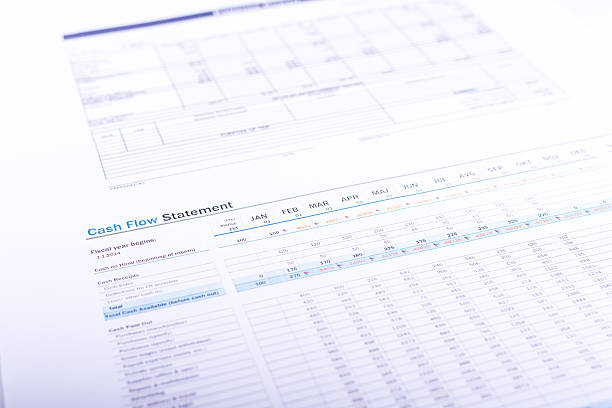 A partial view of a cash flow statement stock photo