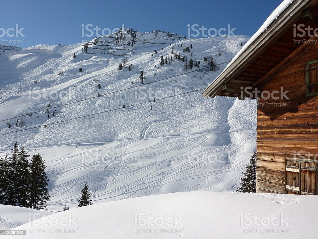 Partial view of a ski lodge in winter sports area stock photo